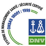 OHSAS 18001 - produtos certificados NSF para as indústrias agro-alimentares (HACCP), produtos para a plasturgia, produtos para a serigrafia, produtos para implementação de poliuretanos, de epoxys, de poliésteres